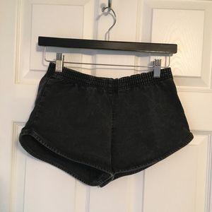 American Apparel Black Acid Washed Runner Short